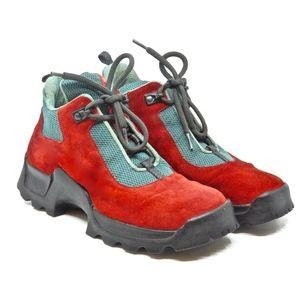 PRADA~softy trek~3480 TREKKING SHOES~RED SUEDE